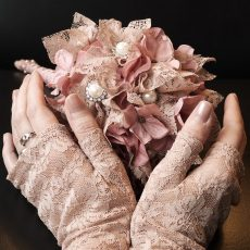 Bridal Bouquet with Lace Gloves