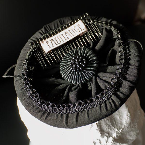 Hutfutter Fascinator Hütchen Faunauge schwarz