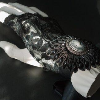 Armband Black Lady schwarze Kokarde mit Kamee