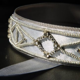 Gatsyby headband silver and grey beads
