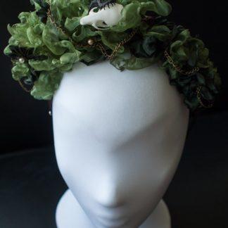 Haarreif mit grünem Organza uns 3D-gedruckten Tieren