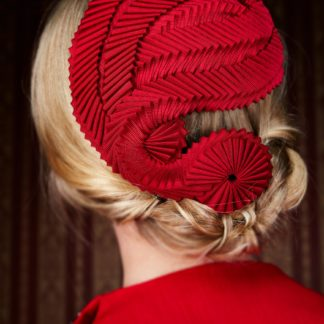 Red Fascinator with cockades