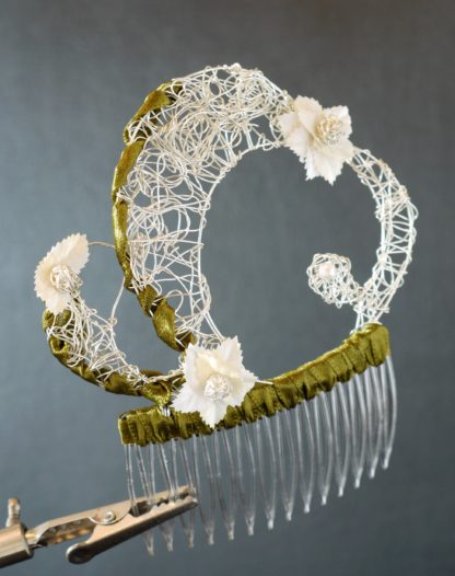 Silberhaarkamm Floral4 grün
