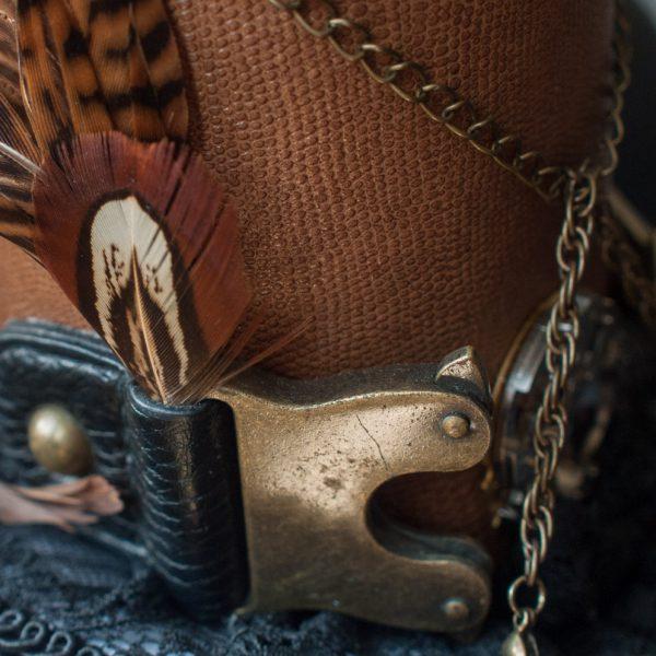 Feder in Taschenverschluss am Steampunkzylinder von Faunauge