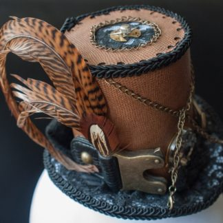 Steampunk cylinder with pheasant feathers and tip