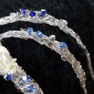 Brautjungfern-Armband mit blauen Facettsteinchen