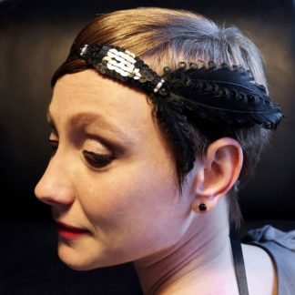 Haarband Black Swan mit Pailetten und Federn