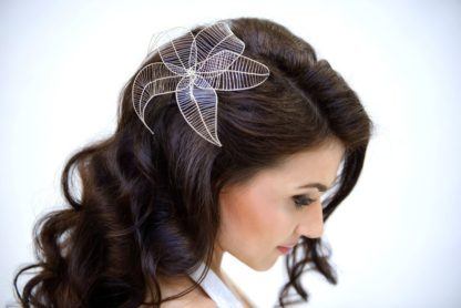 silver wire blossom flower hairstyle trend bridal hairstyle
