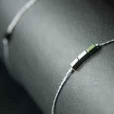 Flechtband Grüner Hämatit mit 3 Steinen