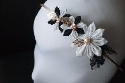 schwarz weißer Haarreif Brautschmuck Japanische Falttechnik