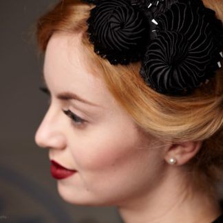 Black Fascinator Cockade Detail with hematites