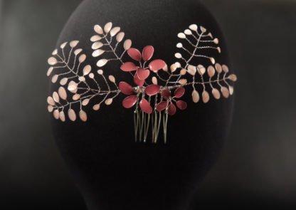 Haarkamm Florence mit roséfarbenen Lackblumen