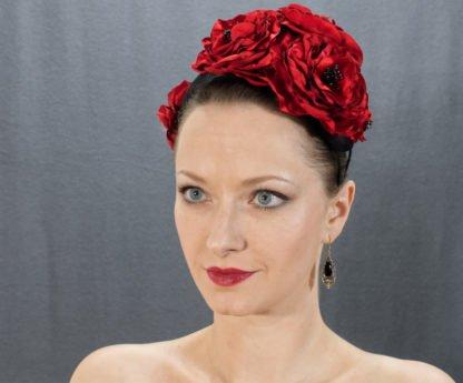 Haarreif mit roten Blumen beidseitig tragbar