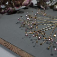 Hairpins Set Lilac Gold