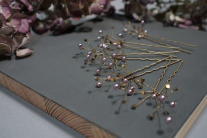 Hairpins Lilac Gold Pearls Hair jewellery Bride