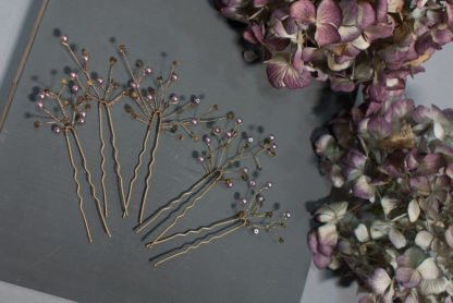 Hairpins Bride Hair jewellery Lilac Gold Taupe