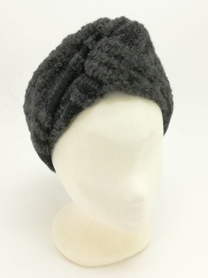 headband wool grey glitter