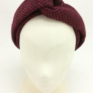 Turbanhaarband roter Fischgrat Tweed
