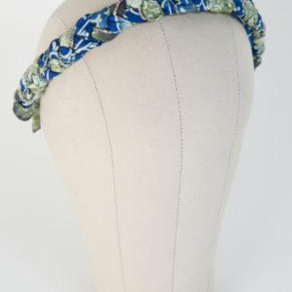 """Haarreif """"Lake Tudor"""" aus blau grünem Satin Paisleymuster Silberketten Ansicht von rechts"""