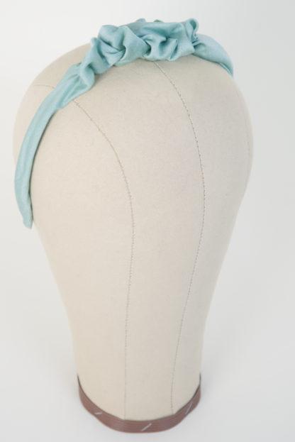 Schmaler Haarreif Mintgrün mit Raffung Seitenansicht rechts
