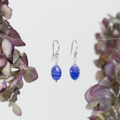 Ohrringe Silber Blaue Linsen