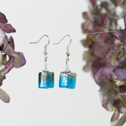 Ohrringe blaue Muranoglas Würfel
