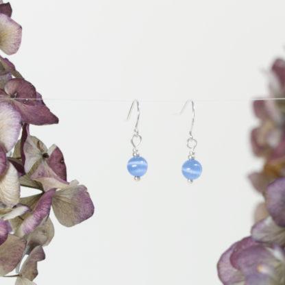 Ohrringe Silber kleine blaue Cateye Perle