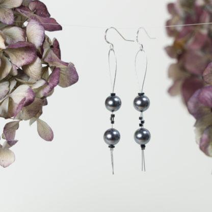 Ohrringe Silber Draht Loop 2 Majorica Perlen grau