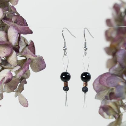 Ohrringe Edelstahl Silberdraht Loop Onyx mit Lava