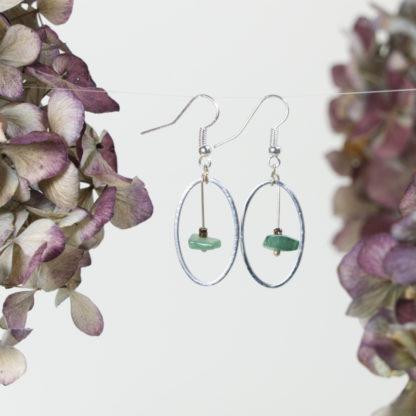Ohrringe Silber Jade im Silberrahmen