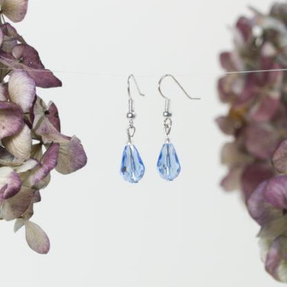 Ohrringe Silber blaue Tropfen aus geschliffenem Glas