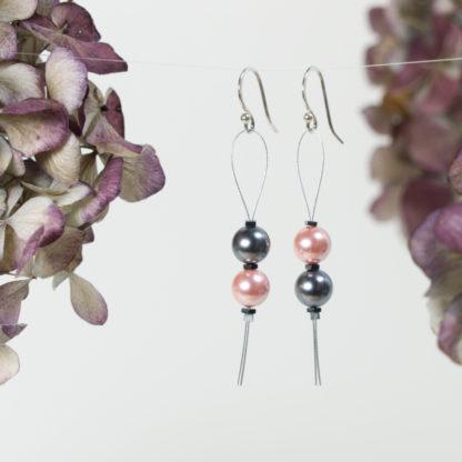 Ohrringe Silber Draht Loop 2 Majorica Perlen rosa grau