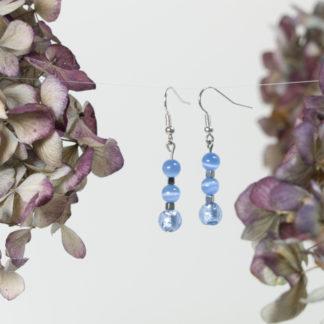 Ohrringe Silber 3 blaue Perlen