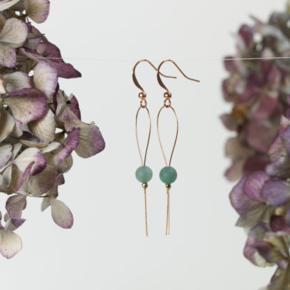 Ohrringe Draht Kupfer Grüner Moosachat und goldener Hämatit