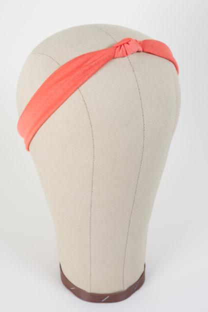 Schmales Stirnband mit einem Knoten in Apricot mit 1 Knoten