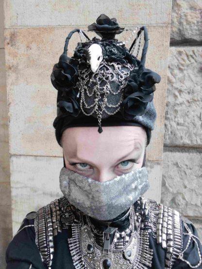 Maske Gothic mit Pailleten Silber