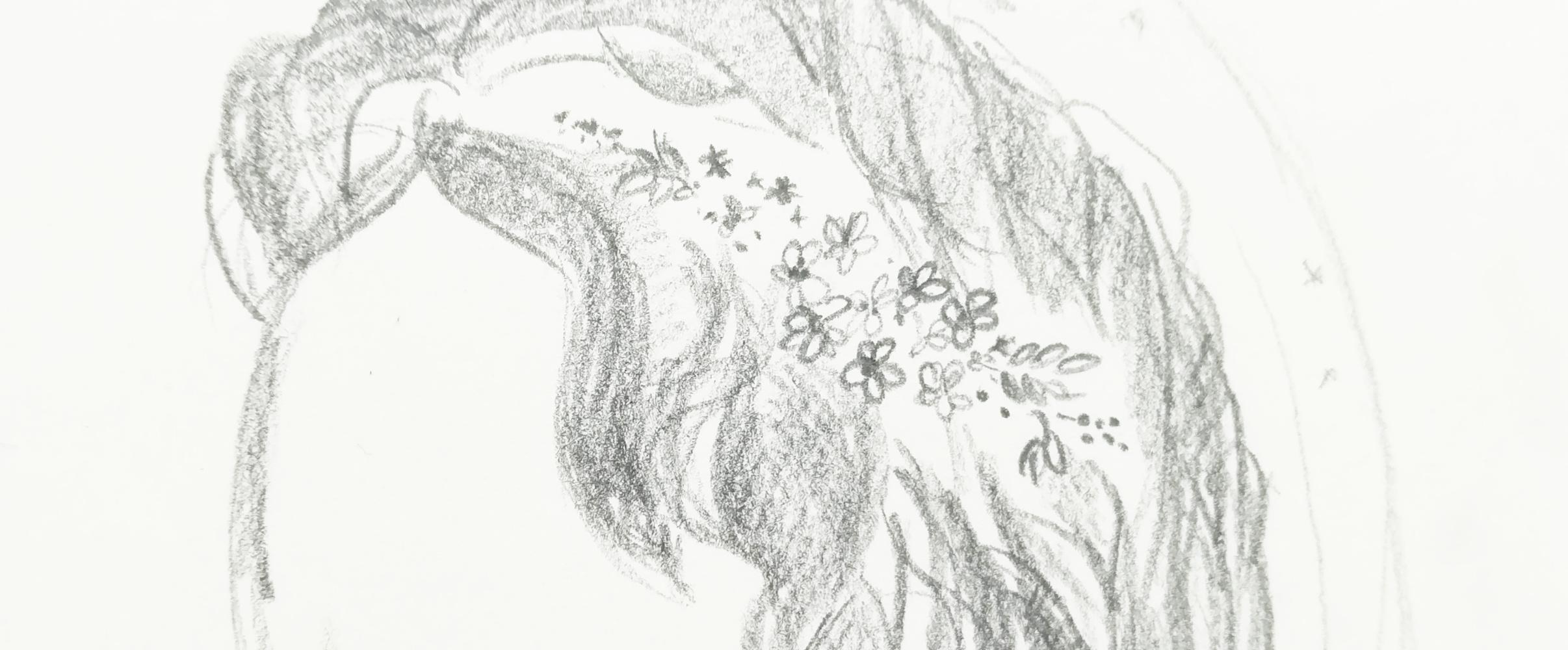 Skizze für einen Brautschmuck