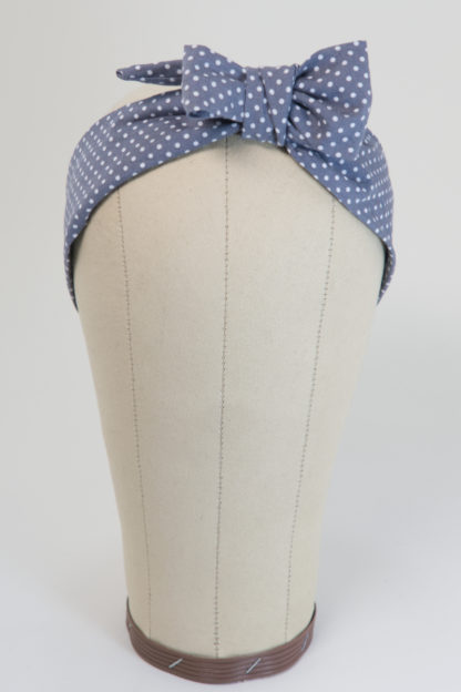 Haarband grau mit Polka Dots