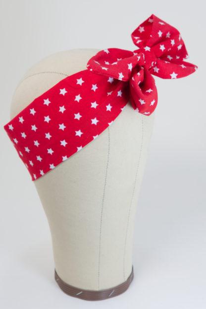 Haarband rot mit Sternchen