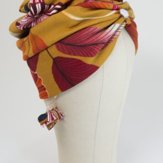 Turbanmütze in Senfgelb mit Blütenmuster