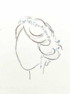 Skizze eines Brauthaarschmucks