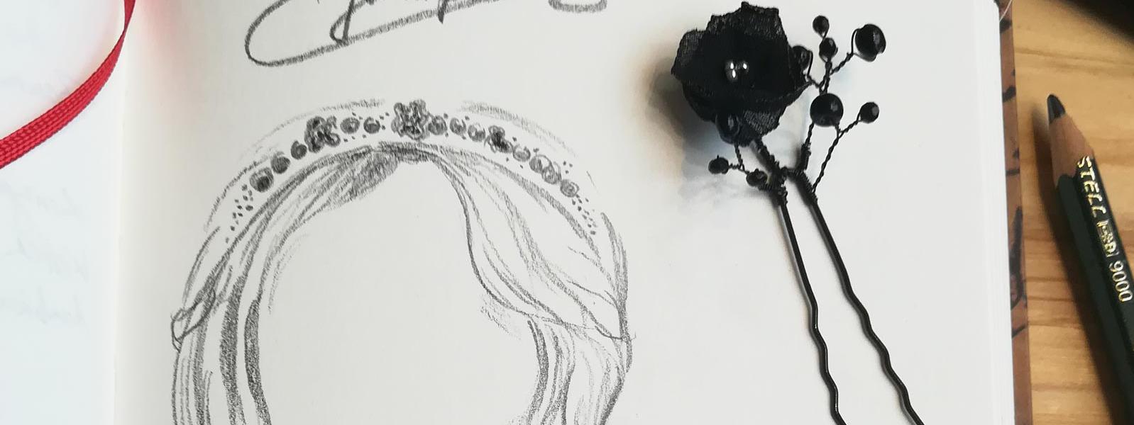 Entwurf eines Haarschmucks für eine Braut