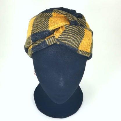 Gelbes Stirnband mit Karos