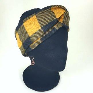 Stirnband in Gelb mit dunkelgrauen großen Karos