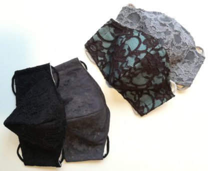 Alltagsmasken mit Spitzenbesatz in verschiedenen Farben selbst zusammenstellbar