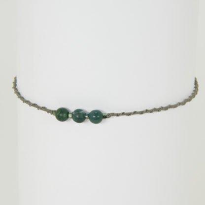 Yoga Armband mit 3 Perlen aus Moosachat und Hämatit