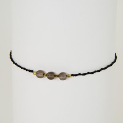 Yoga Armband mit 3 Perlen aus Rauchquarz