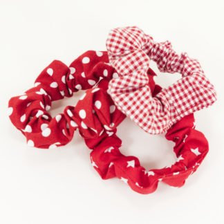 Rote Scrunchies