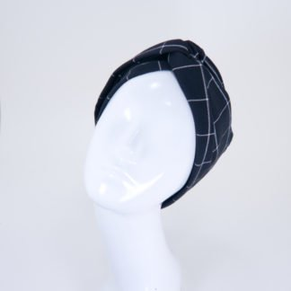 Turbanstirnband Lisa schwarzweißes Windowpanemuster