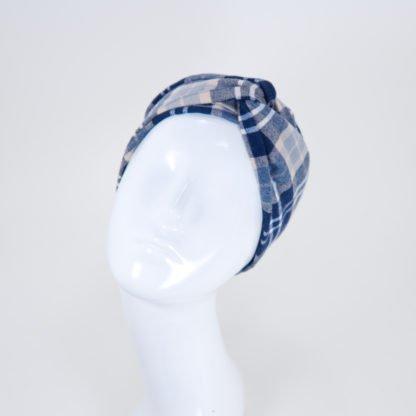 Stirnband Lisa in blaubeigem Tartanmuster aus Flanell
